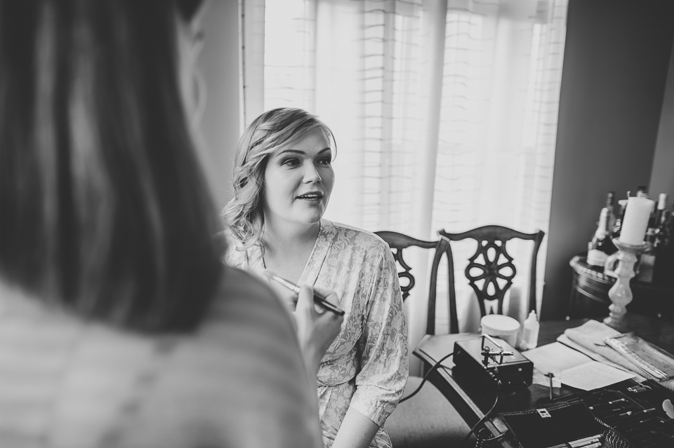 03 black and white bride portrait during makeup - Gintare + AJ // Chicago Wedding Photography