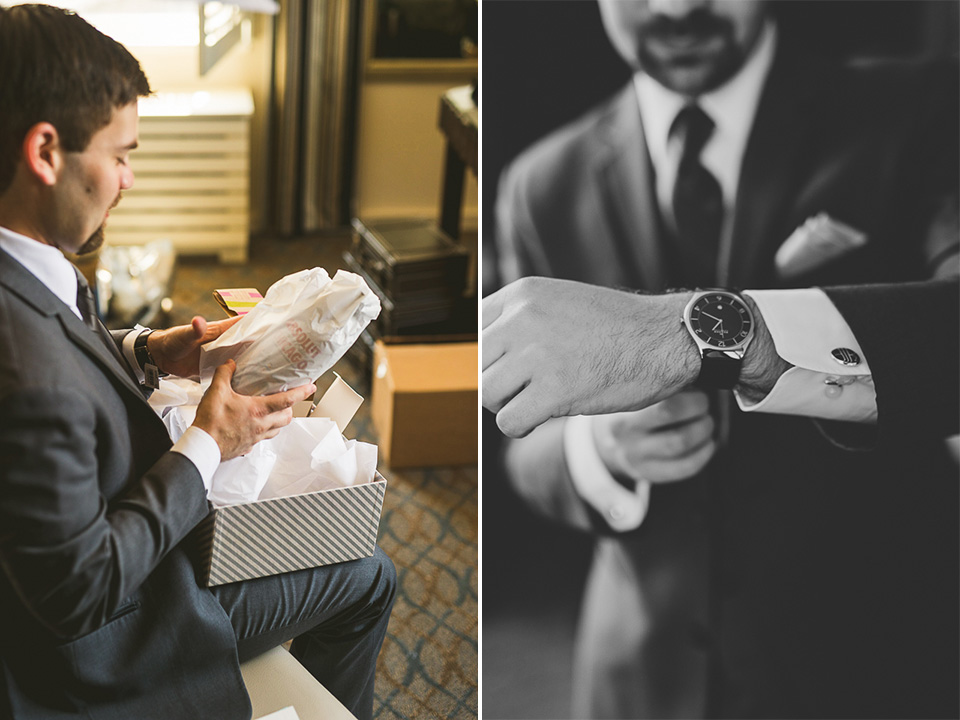 06 groom opening gift - Mandy + Brian // Chicago Wedding Photographer