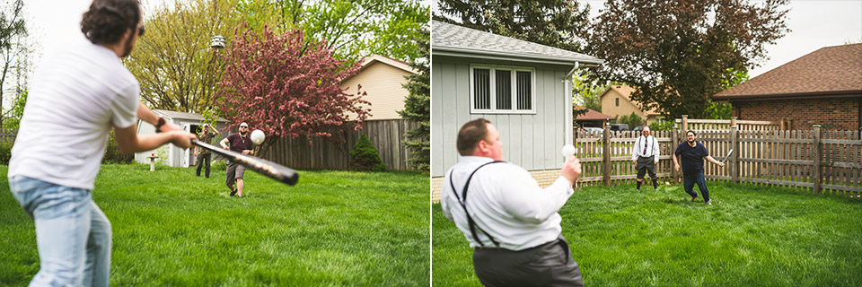 09 playing wiffleball - Gintare + AJ // Chicago Wedding Photography