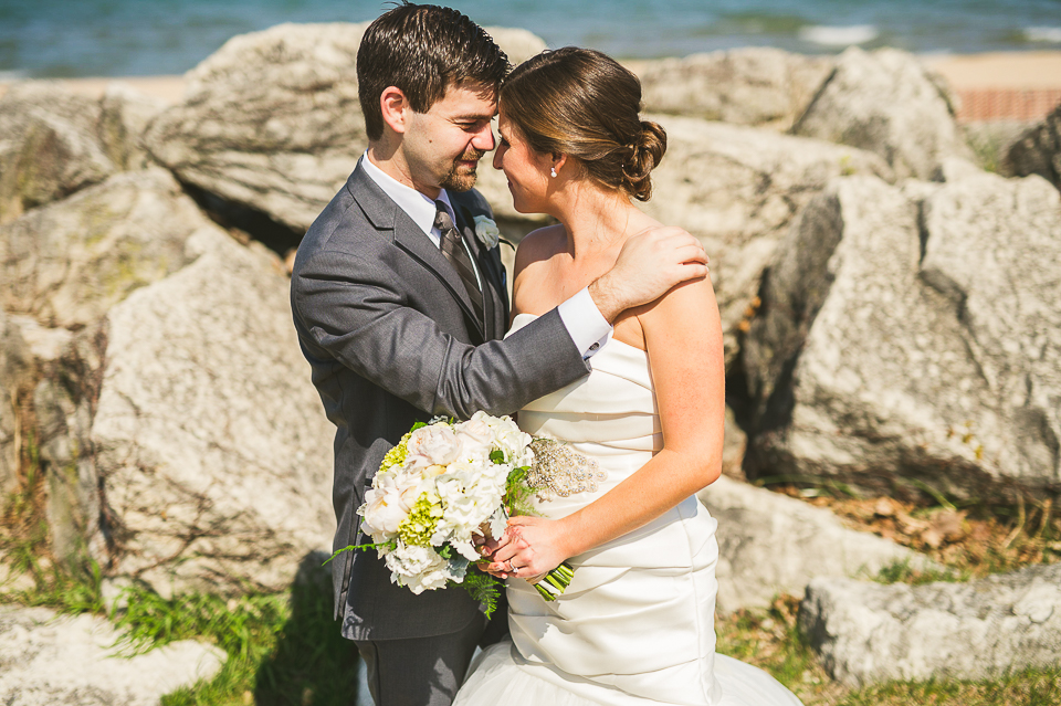 24 bride and groom on beach - Mandy + Brian // Chicago Wedding Photographer