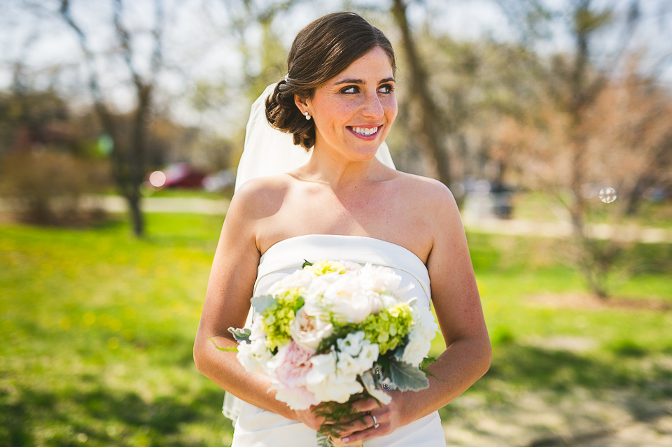 29 bride portrait with flowers - Mandy + Brian // Chicago Wedding Photographer