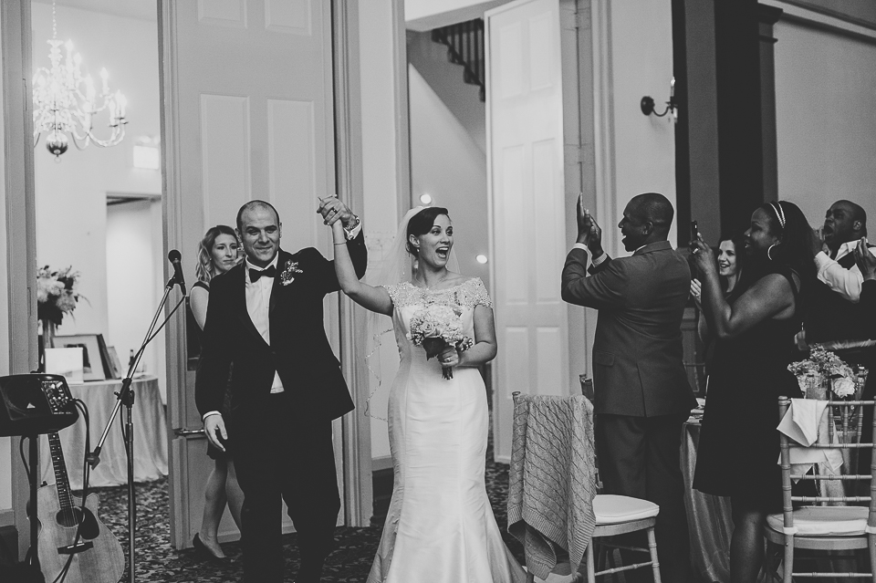 32 happy bride and groom enterance - Pam + Vinny // Chicago Wedding Photographer