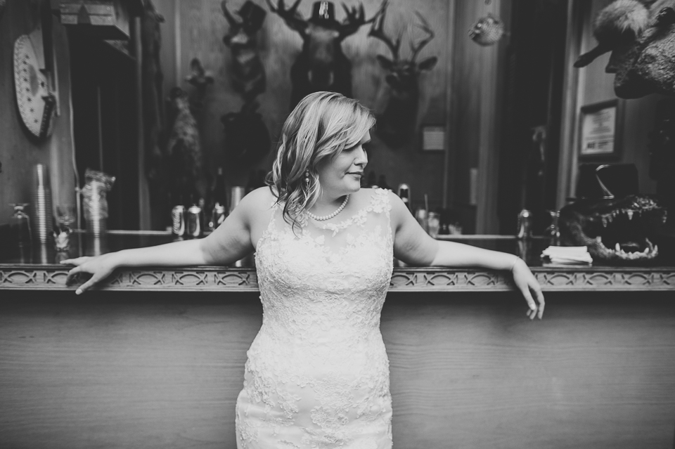71 bride portrait at bar - Gintare + AJ // Chicago Wedding Photography