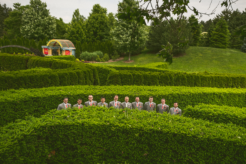 12 groomsmen in a maze - Lyuda + Tyler // Chicago Wedding Photographers
