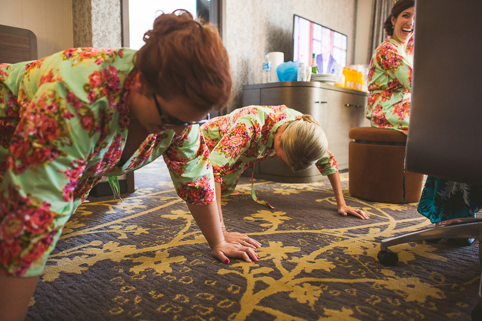 13 bridesmaids doing pushups