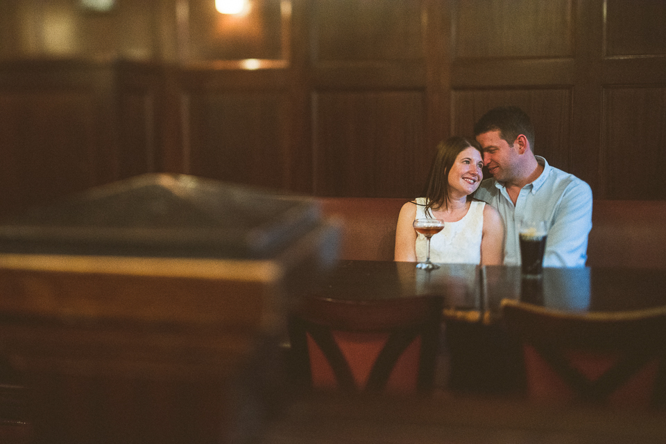 13 indoor engagement portraits - River North Engagement Session in Chicago // Heather + Mick