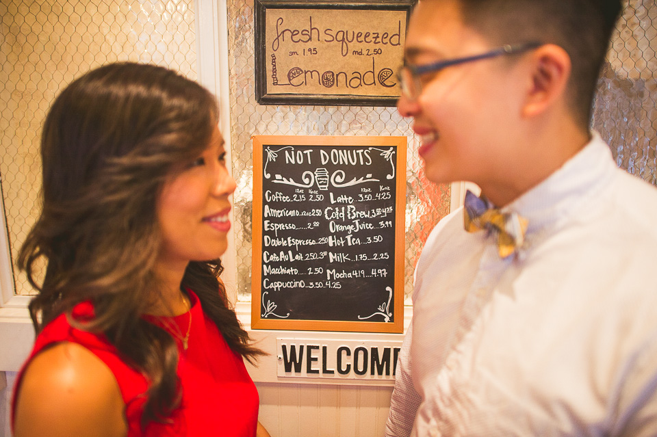 04 chicago engagement session in doughnut shop - Downtown Chicago Engagement Photography // Jean + Viet