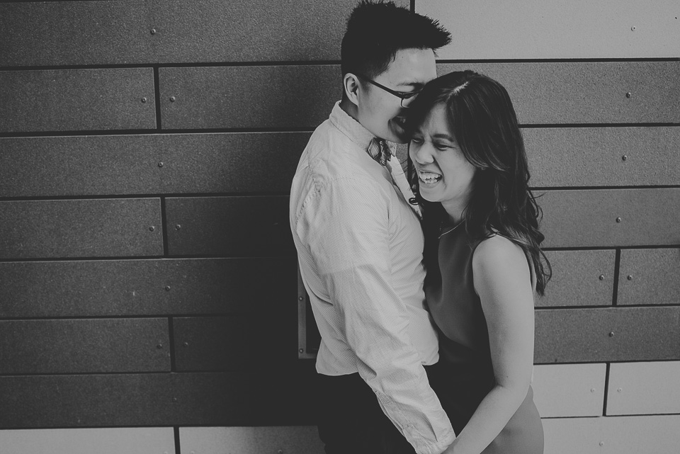 09 black and white engagement photos - Downtown Chicago Engagement Photography // Jean + Viet