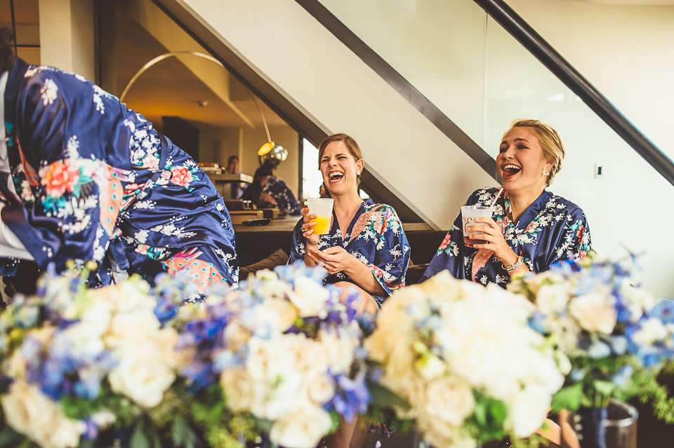 13 bridesmaids laughing