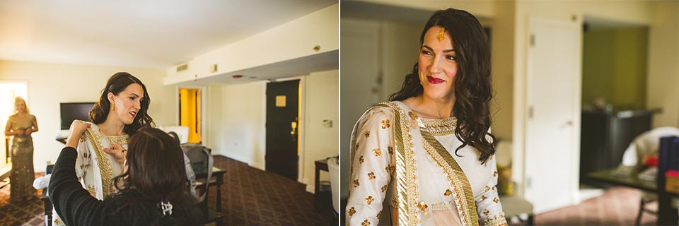 17 bride putting on sari - Molly + Simul // Chicago Wedding Photos at Bridgeport Art Center