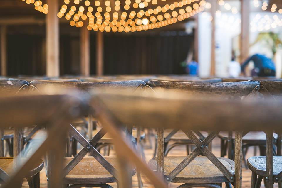 40 chairs at wedding - Molly + Simul // Chicago Wedding Photos at Bridgeport Art Center