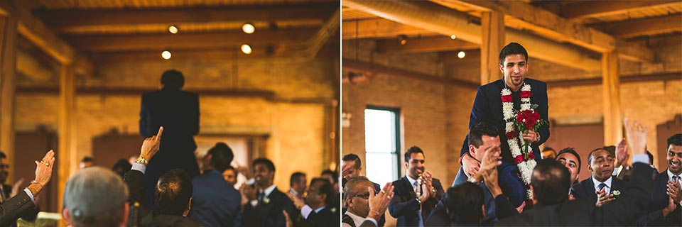 50 1 groom during barat - Molly + Simul // Chicago Wedding Photos at Bridgeport Art Center