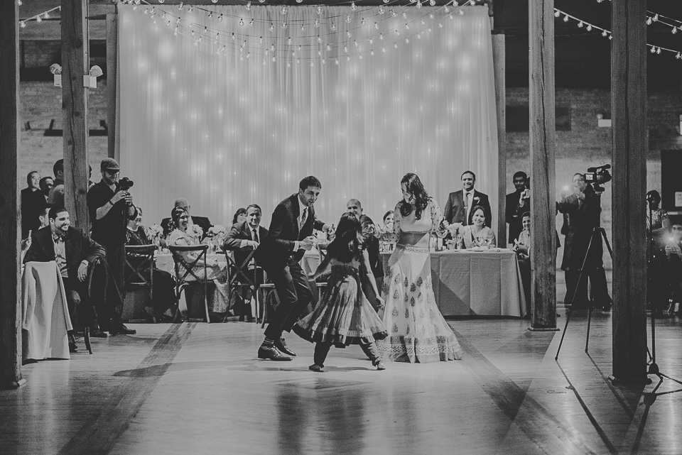 82 black and white dancing - Molly + Simul // Chicago Wedding Photos at Bridgeport Art Center