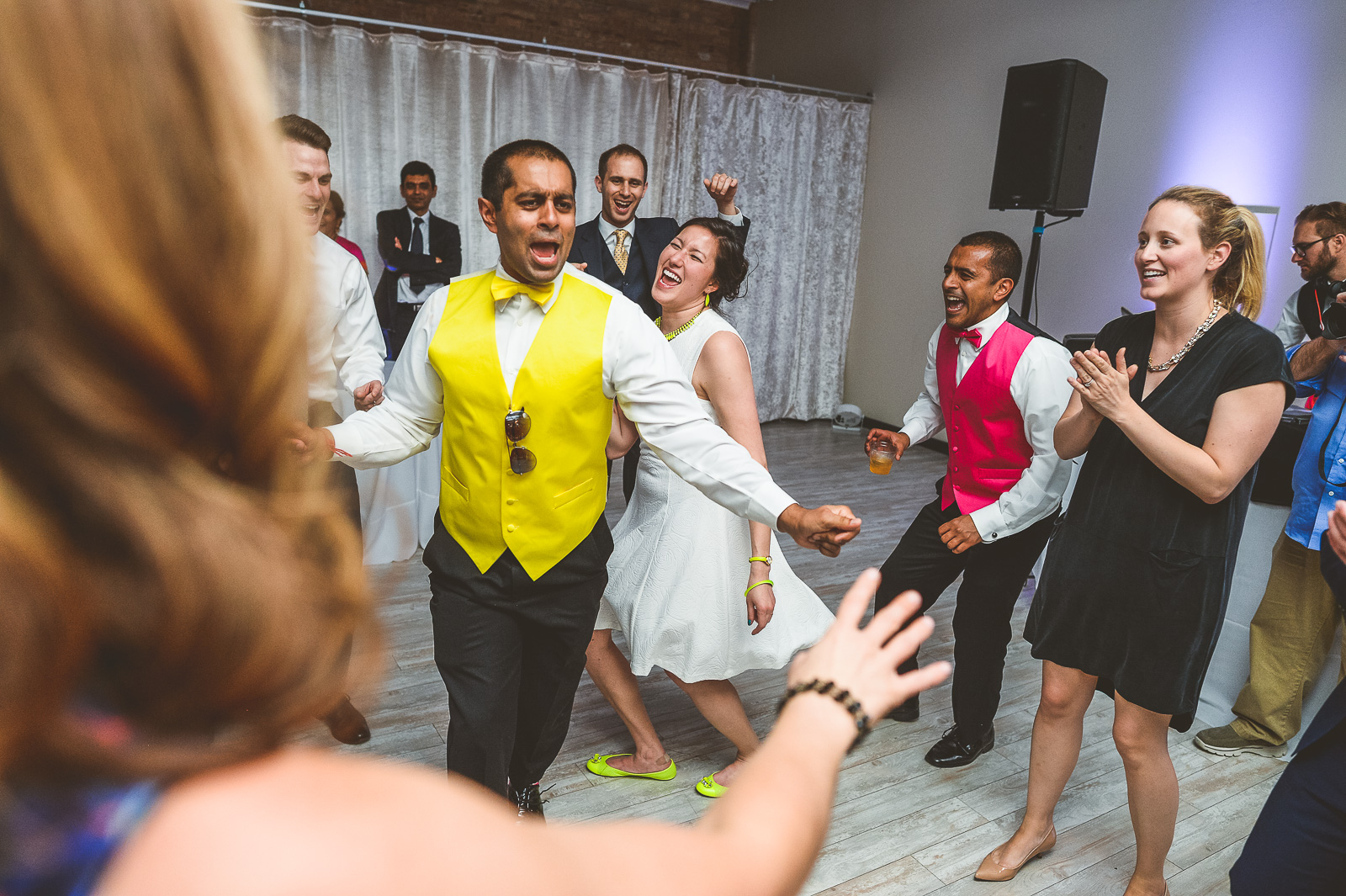 70 bride and groom dancing - Jackie + Raj // Chicago Wedding Photography at Floating World Gallery