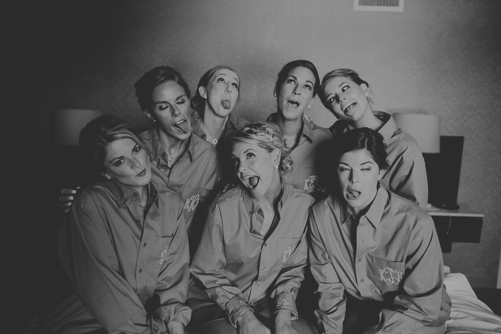 12 bridesmaids being goofy