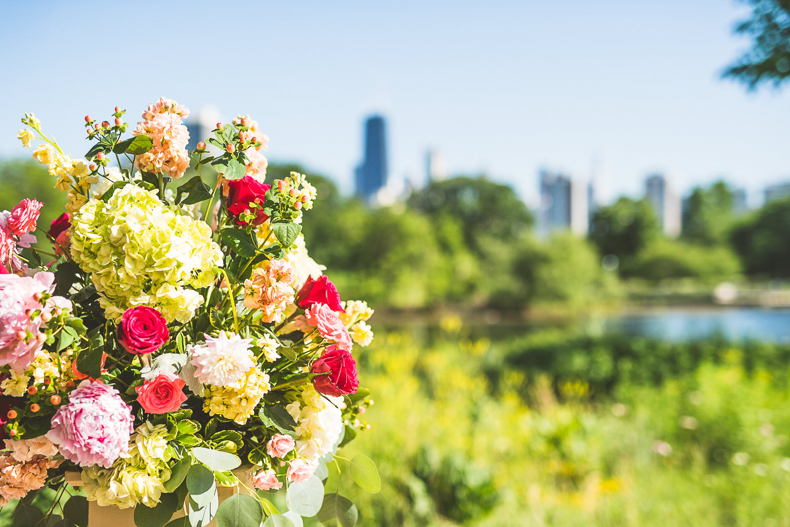 39 1 flowers outside - Natalie + Alan // Chicago Wedding Photographer at Cafe Brauer