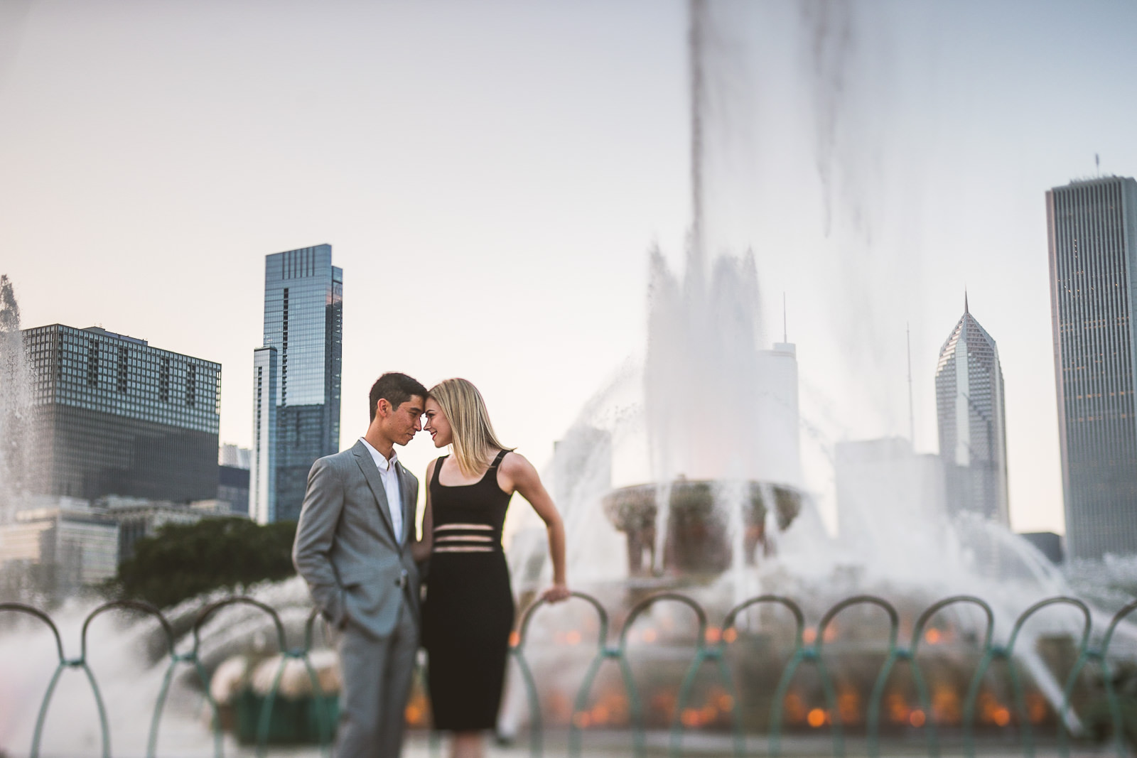 06 buckingham fountain engagement photos - Krista + Russel // Downtown Chicago Engagement Session