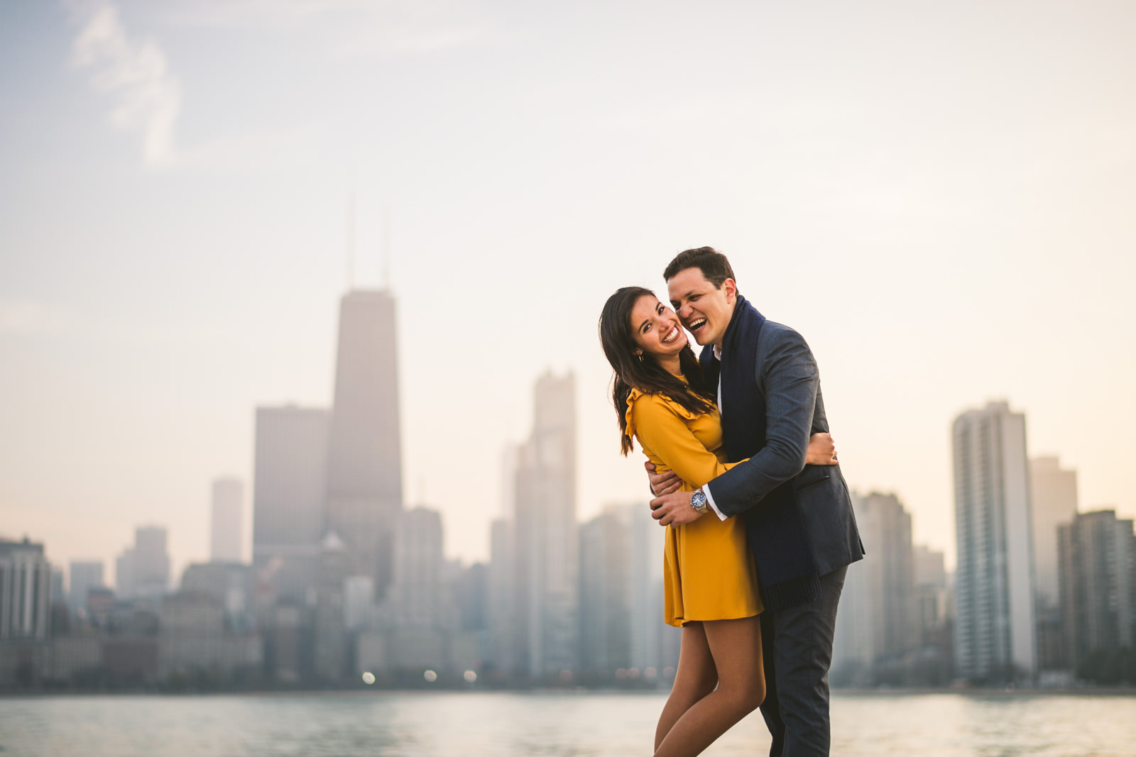 09 happy couple engaged in chicago - Geraldine + Jose // Proposing in Chicago