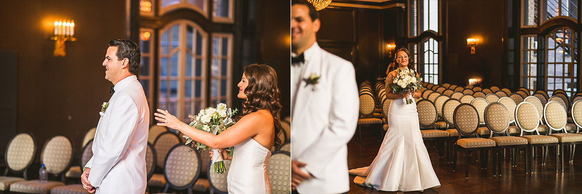 24 first look at wedding in chicago - Chicago Wedding Photography at Chicago Athletic Association // Alicia + Spencer