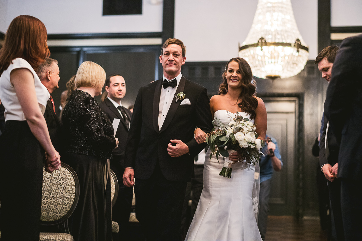 50 chicago wedding bride walking down the isle - Chicago Wedding Photography at Chicago Athletic Association // Alicia + Spencer
