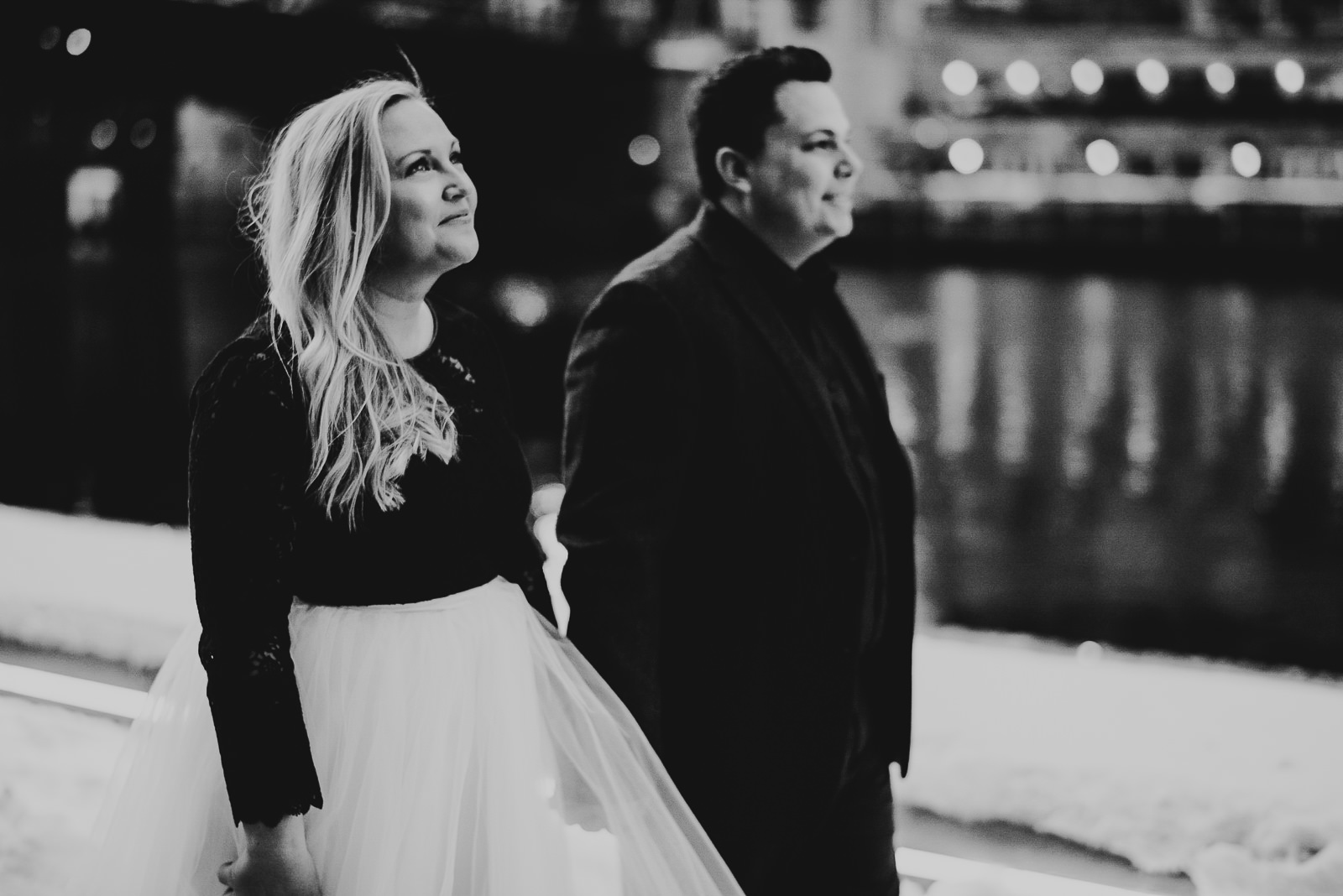 08 black and white engagement photos - Stephanie + Rhett // Downtown Chicago Engagement Session