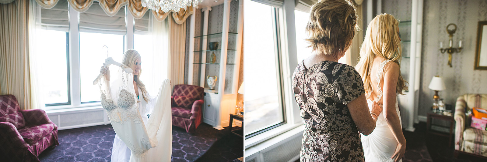 11 bride putting on dress - Kayla + Terry // Drake Hotel Chicago Wedding Photos
