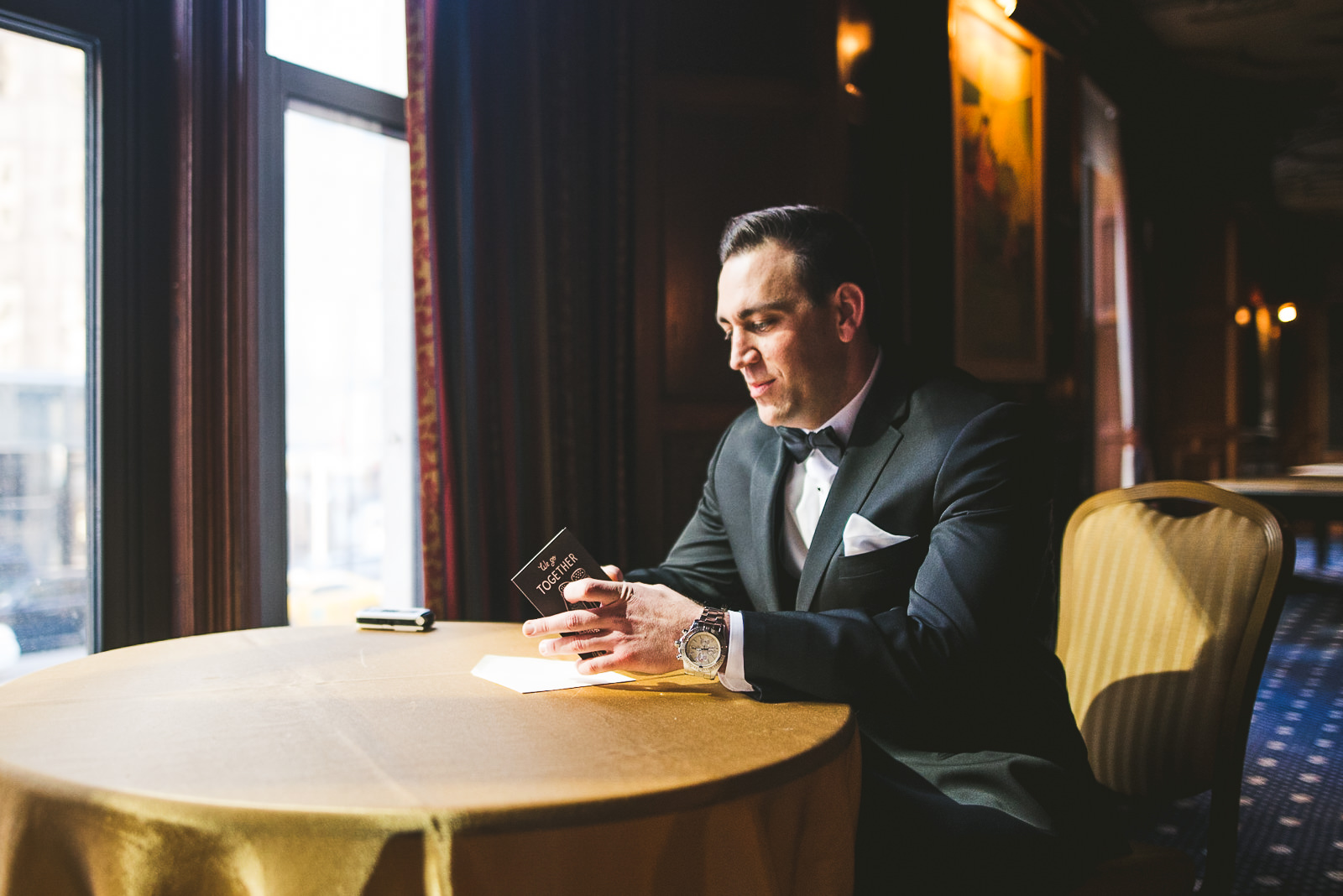 15 groom reading letter - Kayla + Terry // Drake Hotel Chicago Wedding Photos