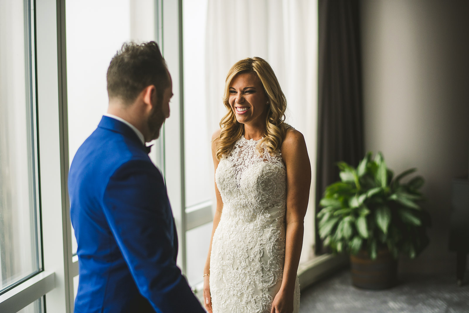 16 first look at trump tower in chicago - Chicago Wedding Photography at Gallery 1028 // Courtnie + David