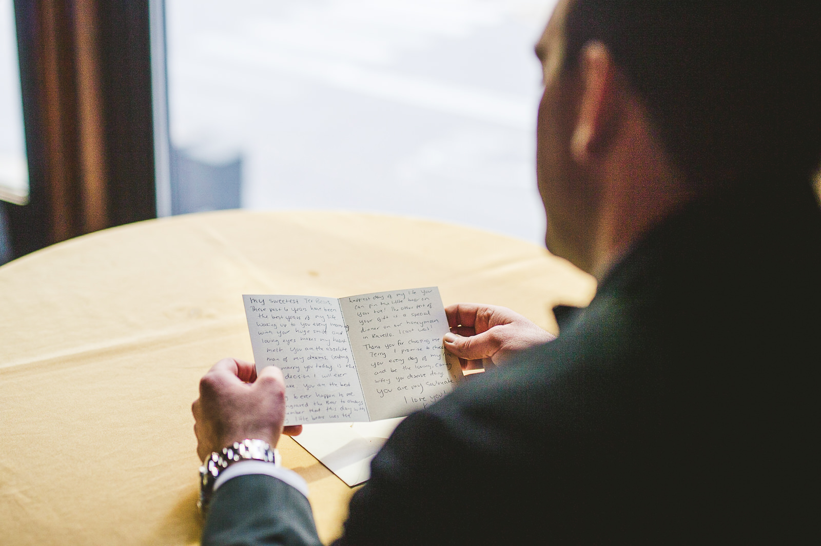 17 groom reading letter from bride - Kayla + Terry // Drake Hotel Chicago Wedding Photos