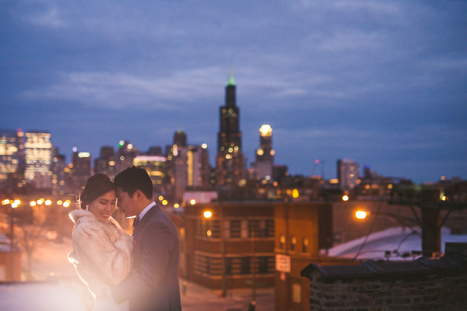 54 wedding portraits on rooftop in chicago - Rebecca + Doha // Wedding Photos at Room 1520 Chicago