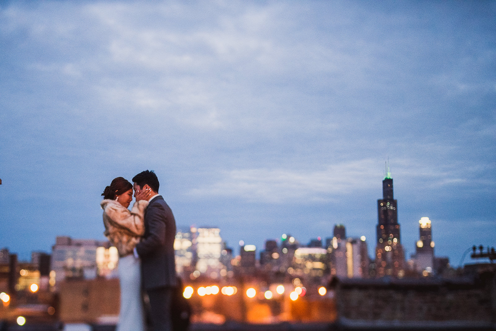 58 nightime chicago wedding photos - Rebecca + Doha // Wedding Photos at Room 1520 Chicago