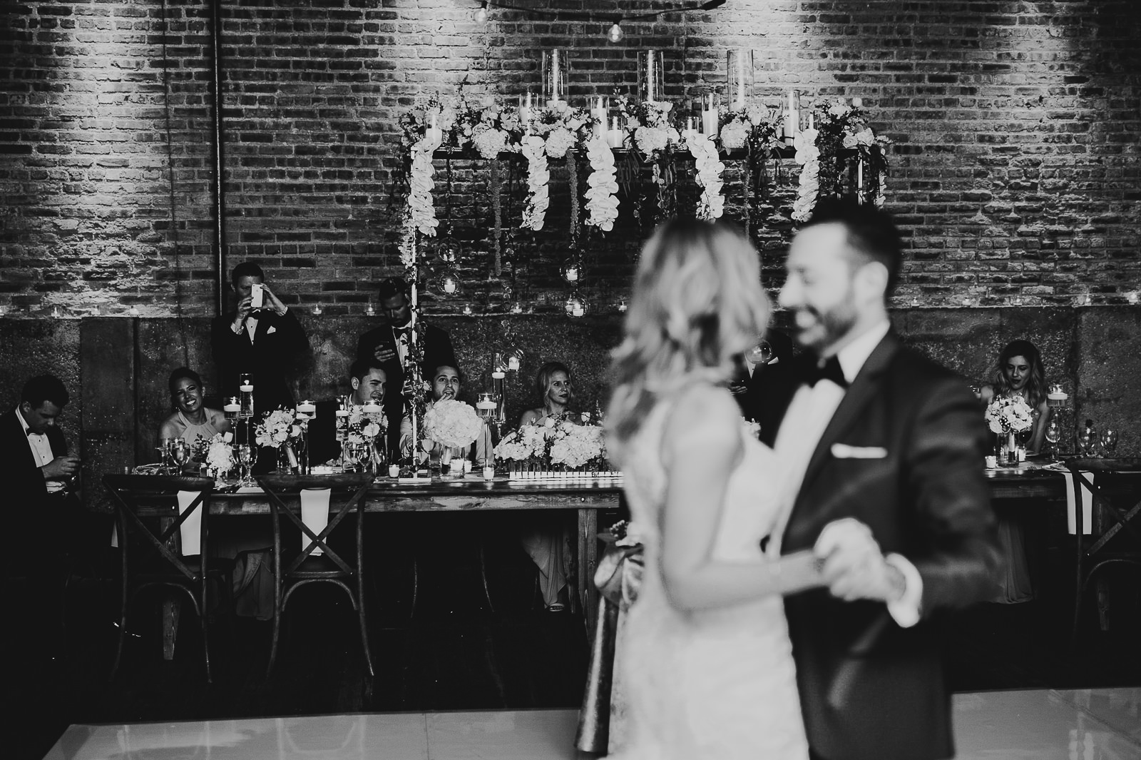 59 first dance in black and white - Chicago Wedding Photography at Gallery 1028 // Courtnie + David