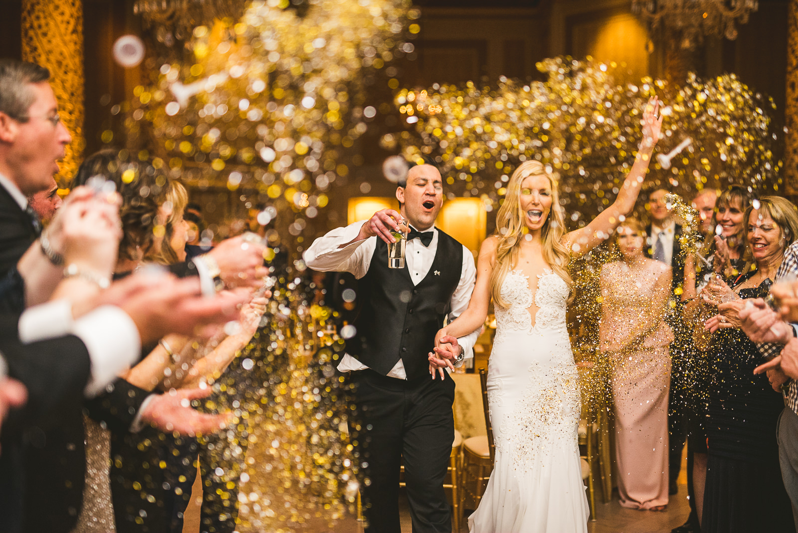 78 glitter exit at wedding - Kayla + Terry // Drake Hotel Chicago Wedding Photos
