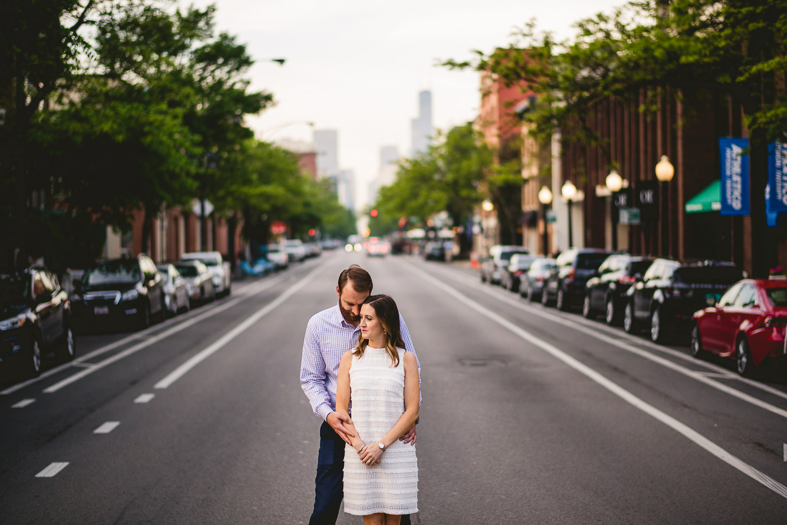 10 chicago engagement session 1 - Chicago Skyline Engagement Session Photographer // Rachel + Jared