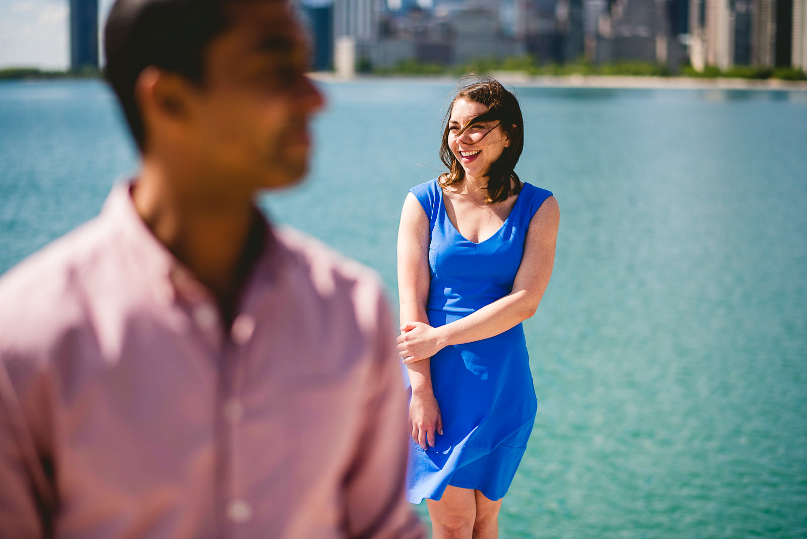02 chicago skyline engagement session - Lincoln Park Chicago Engagement Session at Homeslice // Kylie + Sean