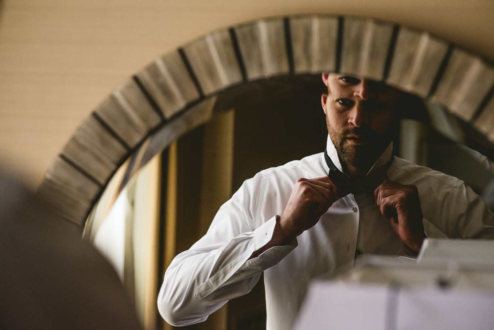 05 groom in mirror - Club of Hillbrook Wedding // Jenna + Ben