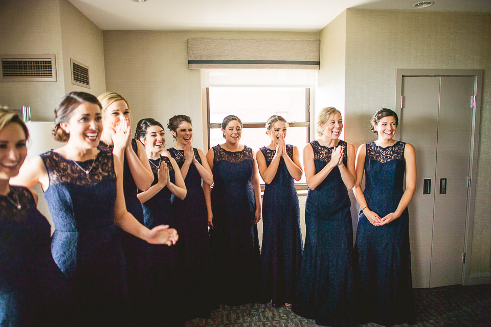 16 reveal dress to bridesmaids - Harold Washington Library Wedding Photos // Kasia + Chris