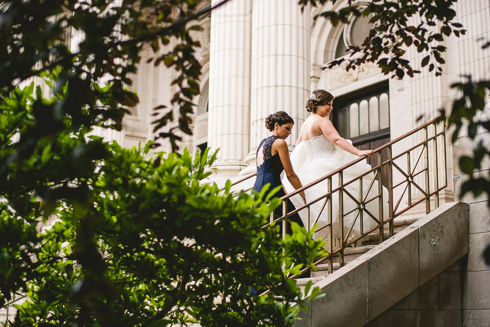30 bride walking to church st mary of the angels chicago wedding  - Harold Washington Library Wedding Photos // Kasia + Chris