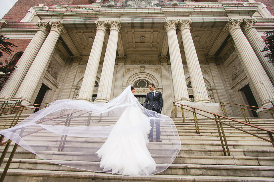 44 veil  - Harold Washington Library Wedding Photos // Kasia + Chris