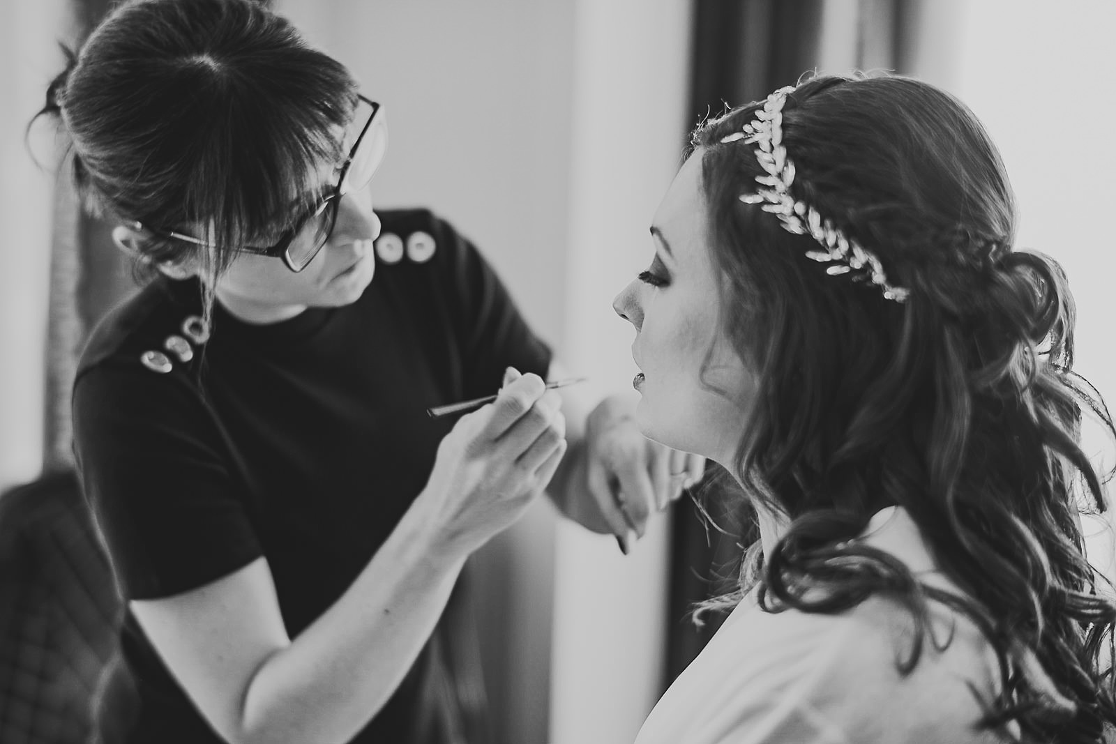 10 bride getting makeup done - Hilton Chicago Wedding Photographer // Sarah + Aaron