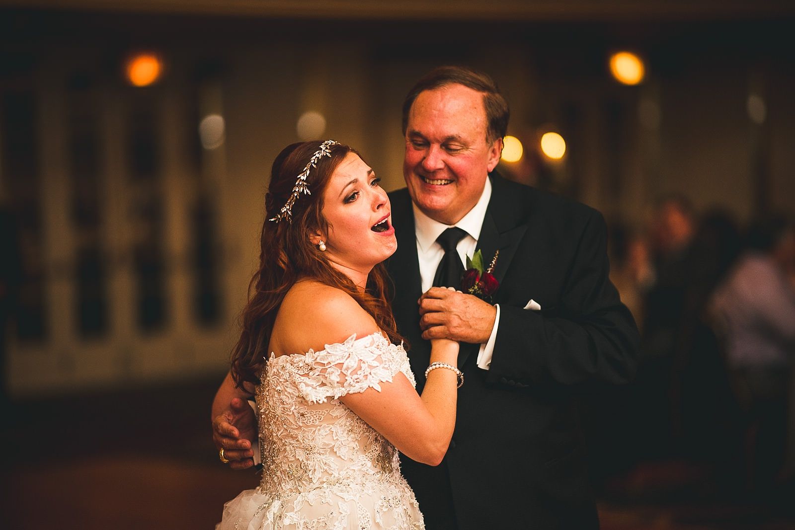 70 bride happy dancing with dad - Hilton Chicago Wedding Photographer // Sarah + Aaron