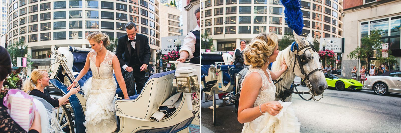 22 bride stepping out of carriage - Chicago Drake Hotel Wedding // Corie + Jordan