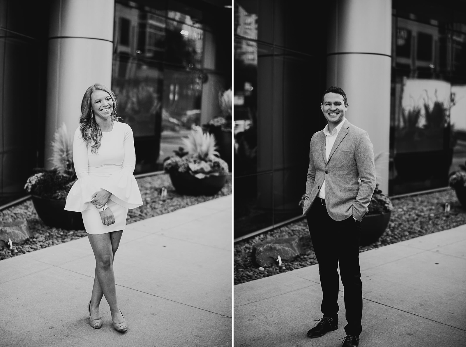 24 fun black and white - Rooftop Chicago Engagement Session // Aubyn + Danny