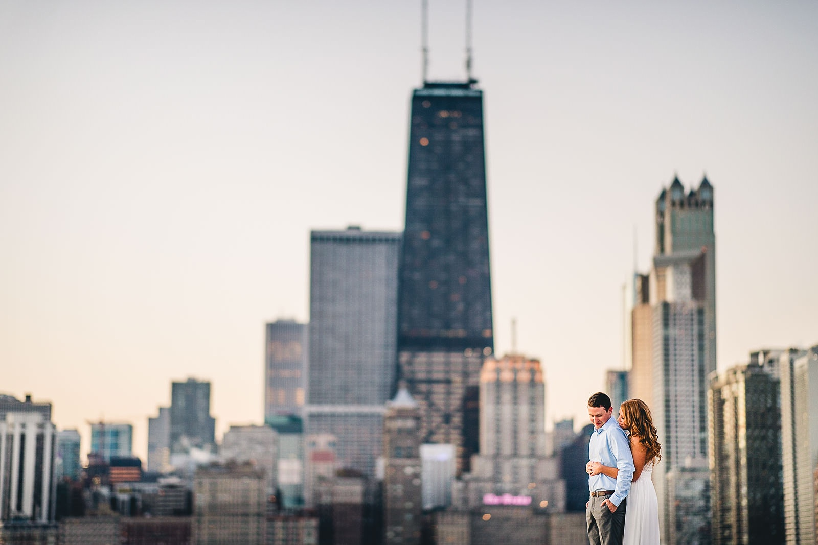 3 chicago engaement photos at sunrise - Rooftop Chicago Engagement Session // Aubyn + Danny