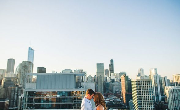 chicago rooftop engagement photos 588x360 - Rooftop Chicago Engagement Session // Aubyn + Danny