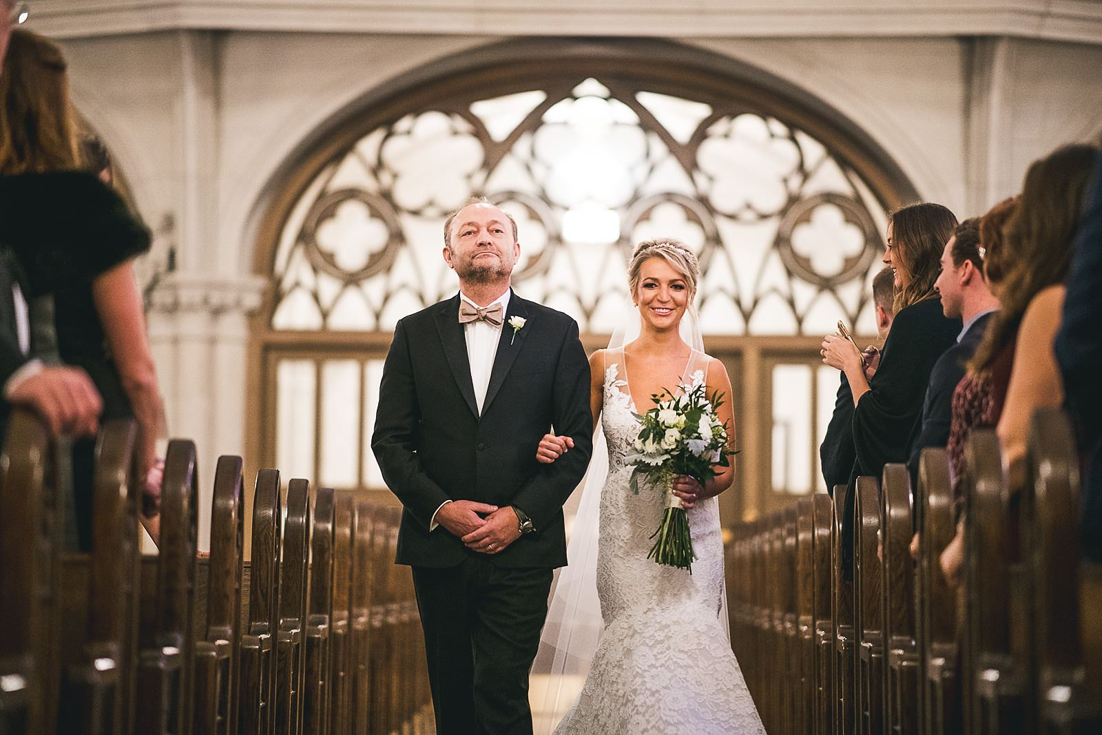 20 st james chapel bride walking down the isle - Ivy Room Wedding // Audrey + Tyler
