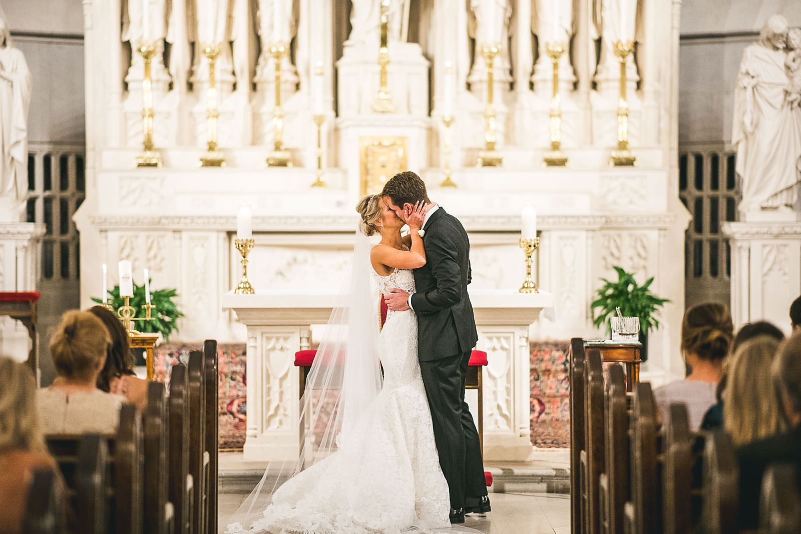 26 first kiss at st james chapel - Ivy Room Wedding // Audrey + Tyler