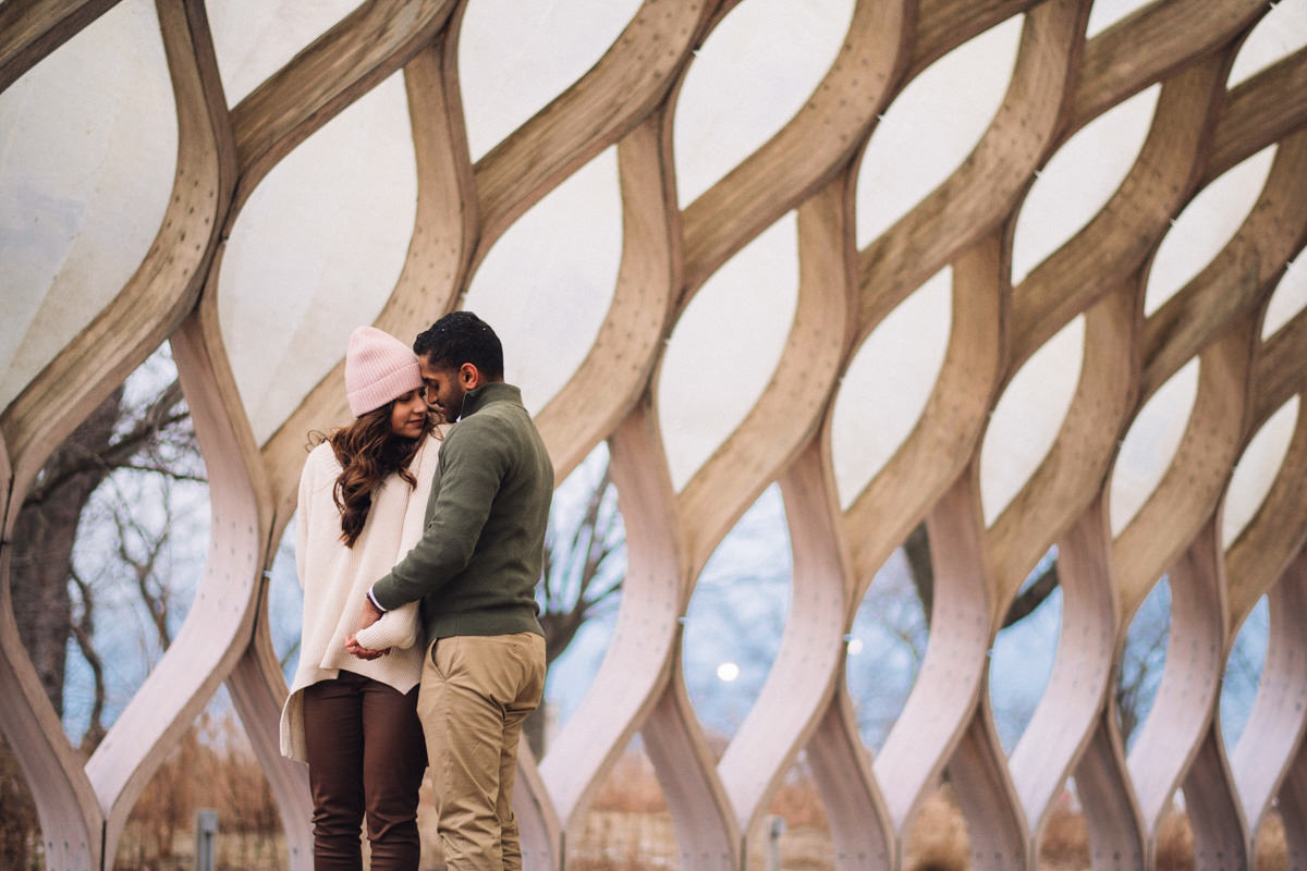 05 chicago winter engagement session photos - Winter Engagement Session in Chicago // Steve + Jasa