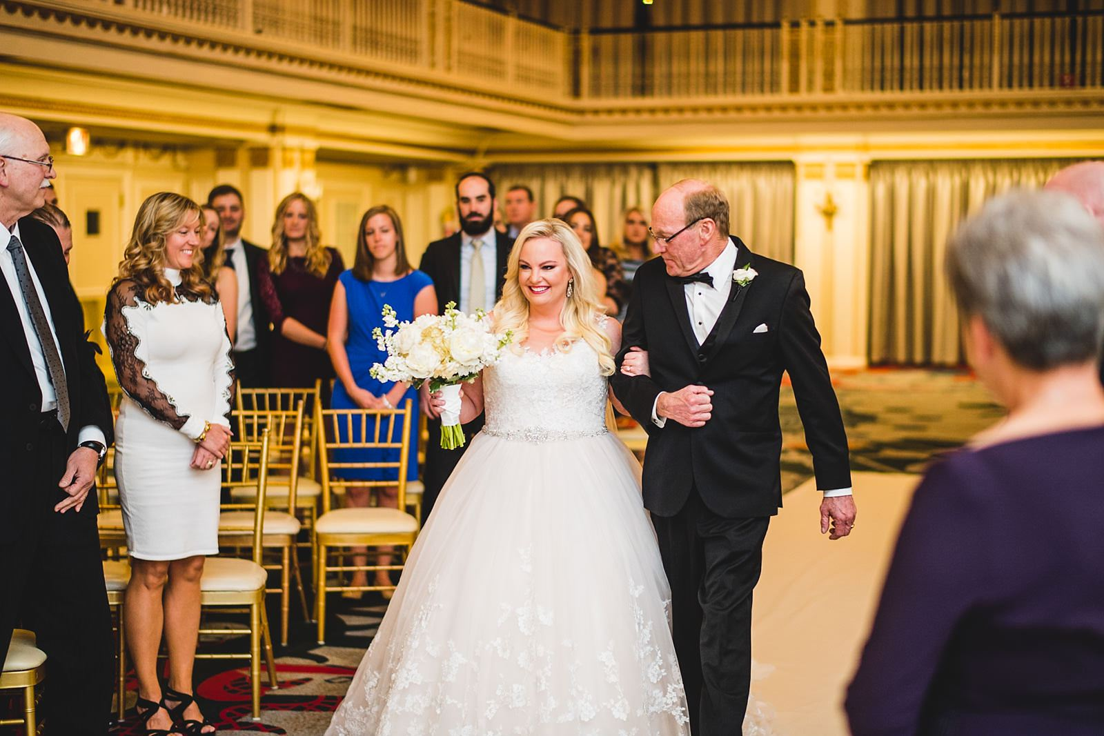 22 bride walking down the isle - Drake Chicago Luxury Wedding Photography // Kate + Royce