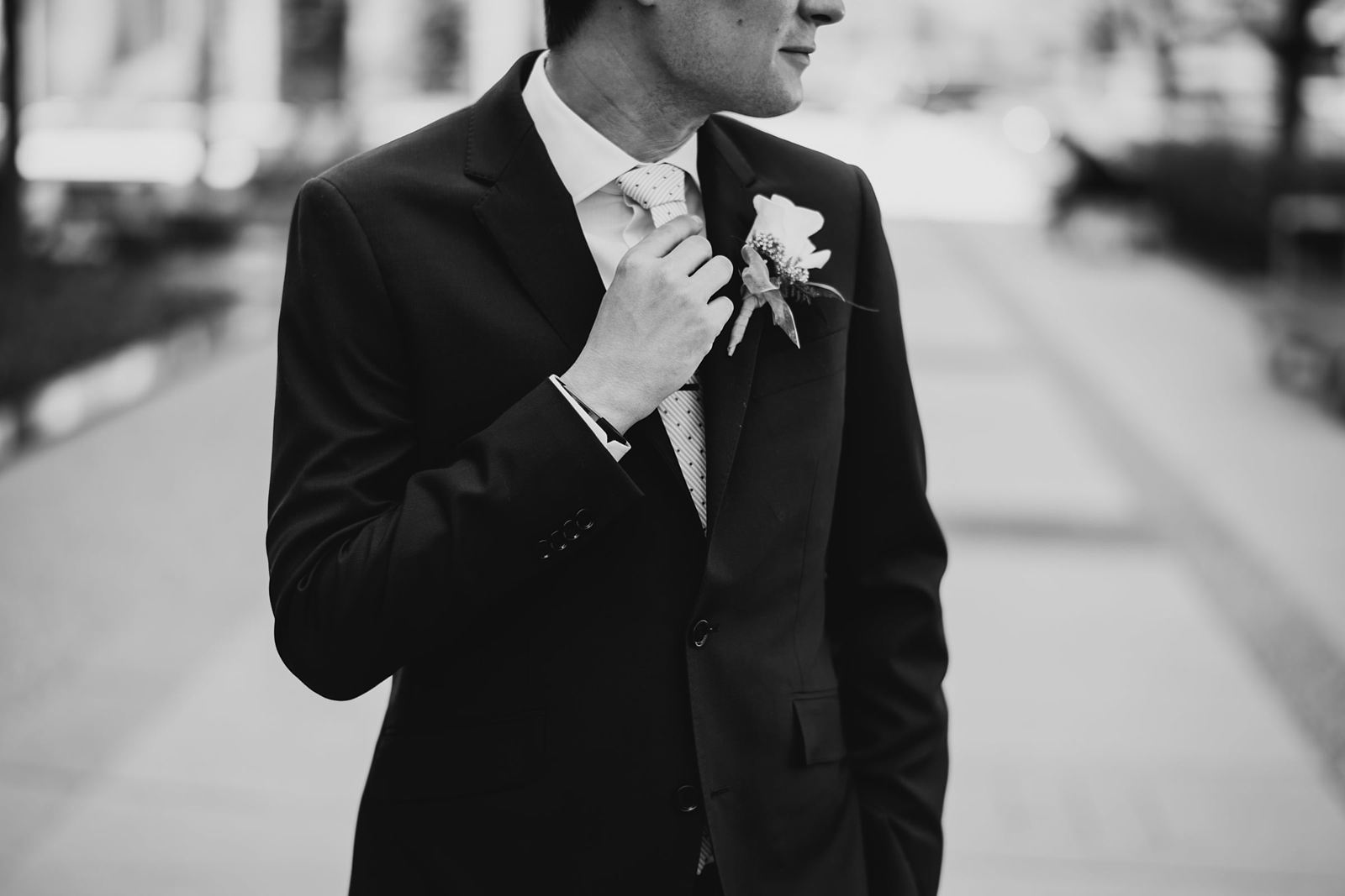 12 groom in black and white - Mid America Club Wedding Photography / Hannah + Jay
